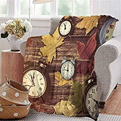 CRANELIN All Season Throw Blanket Different Colored Dry Maple Leaves and Various Alarm Clocks on Wooden Planks Print Multicolor Dorm Bed Baby Cot Traveling Picnic W54 xL84