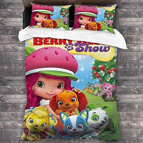 Ghoul Strawberry Short-Cake Be-Rry Bi-Tty Adven-Tures Bedding-Sets, Comforter Set Full, 3 Piece Bed Sets, Ultra Soft Microfiber Unisex Bedding Set Modern Anime Pattern Printed 86¡±X70