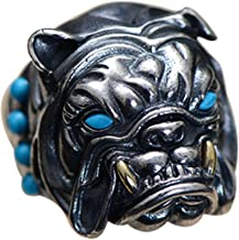 Vintage Black 925 Sterling Silver French Bulldog Head Ring Jewelry with Stones for Men Women Adjustable Size 8.5-11.5