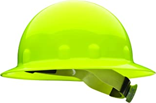 Fibre-Metal by Honeywell SuperEight Thermoplastic Full Brim Hard Hat with 8-Point Ratchet Suspension, Hi-Viz Strong Yellow