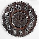 H&M Reloj de pared reloj de pared de madera artesanal reloj de pared de la pared de la pared retro reloj de pared minimalista minimalista de arte decorativo (39.7 * 39.7 * 1.5 cm)