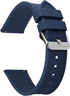 Fullmosa Silicone Rubber 22mm Watch Strap,8 colors for Rainbow Quick Release Watch Band 18mm 20mm 22mm 24mm,Dark Blue