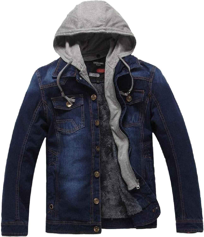 Gocgt Men's Casual Long Sleeve Casual Hoodie Jacket Denim Coat