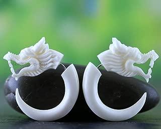 Dragon Earrings Amazing Detail Bone Carving Faux Gauge Fit Regular Pierced Ear Recycle Bone Jewelry