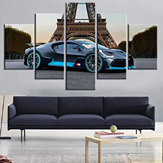 Wall Art Canvas Paintings Printed On Non Woven 5 Pieces, Black-Bugatti-Divo Supercar Poster - Sport Vehicle Home Decorative,A,30×40x230×60x230x80×1