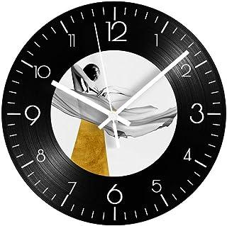 GYJCD Beautiful Girl Vinyl Record Clock para Sala De Estar Silencioso Circular Decorativo Digital Relojes De Pared Diseño ...