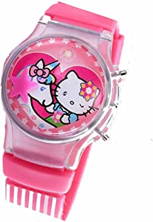 Pink Hello Kitty Flip Top Digital Plastic Watch w/Floating Star and Lights
