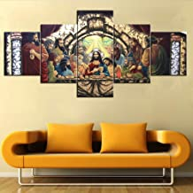 TUMOVO Last Supper Wall Art Wooden Framed Art Leonardo da Vinci Pictures Jesus Chirst Paintings 5 Piece Canvas Home Decor for Living Room Artwork Giclee Posters and Prints Ready to Hang(50''Wx24''H)