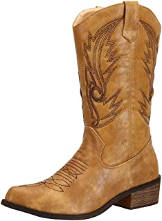 SheSole Womens Western Cowgirl Cowboy Boots Wide Calf Pointed Toe Shoes