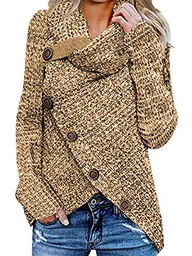 kenoce Maglione Donna Collo Alto Maglione Donna Casual Pullover Manica Lunga Casual Moda Tops Asimmetrico Maglione Maglione Autunnale e Invernale H-Albicocca M