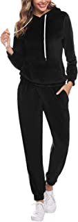 Sweatsuits for Women, 2 Piece Tracksuit Set Velvet Stripe Zipped Hooded Sweatshirts & Pants Sets
