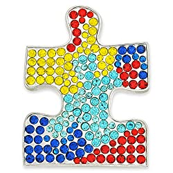 Rhinestone Crystal Puzzle Piece Brooch