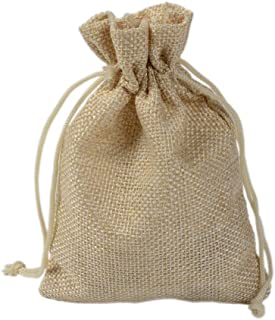 50 Pcs 17x23cm Drawstring Bags Resusable Burlap Gift Bags, Jewelry Pouches Sacks for Wedding Favor Party DIY Craft and Christmas,Beige