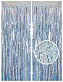 Melsan 2 Pack 3.2 ft x 8.2 ft Tinsel Foil Fringe Curtains Backdrop, Sparkle Metallic Foil Curtains for Party Photo Booth Props Decoration, Light Blue