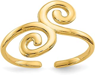 14k Yellow Gold Swirl Adjustable Cute Toe Ring Set Fine Jewelry Gifts For Women For Her