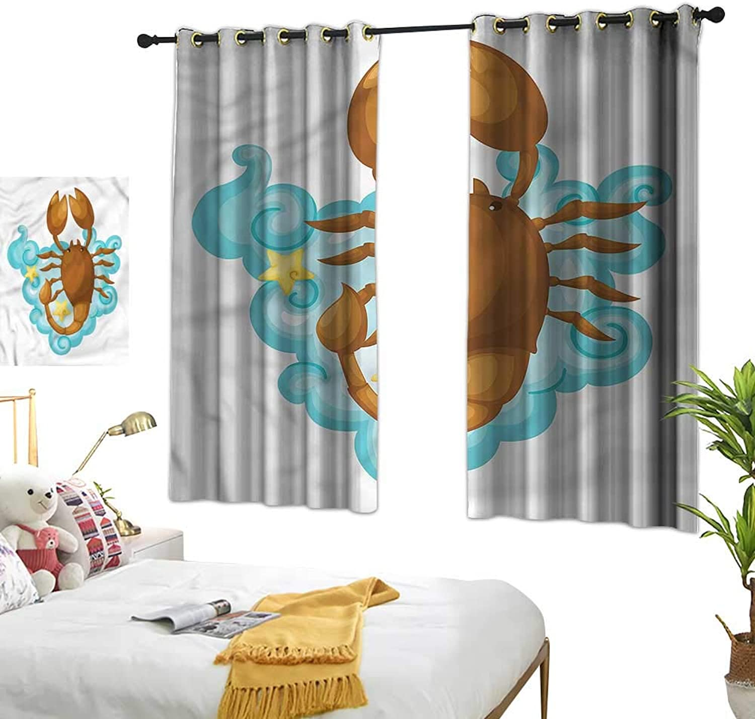 Warm Family Zodiac Scorpio Thermal Insulated Drapes for Kitchen Bedroom Cartoon for Kids 70