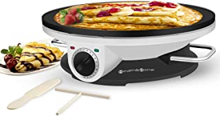 Pancakes Non Stick Crepe Pan Tortilla Proshopping 16 Commercial Electric Crepe Maker with Batter Spreader Eggs Large Pancakes Griddle Machine Stainless steel 110V- for Blintzes