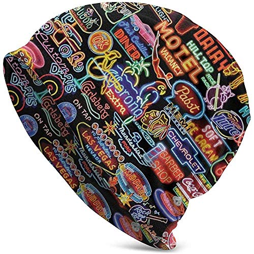 Mamihong Letreros de neón Beanie Hat Cap Gorras de Invierno Sombreros Cuffed...