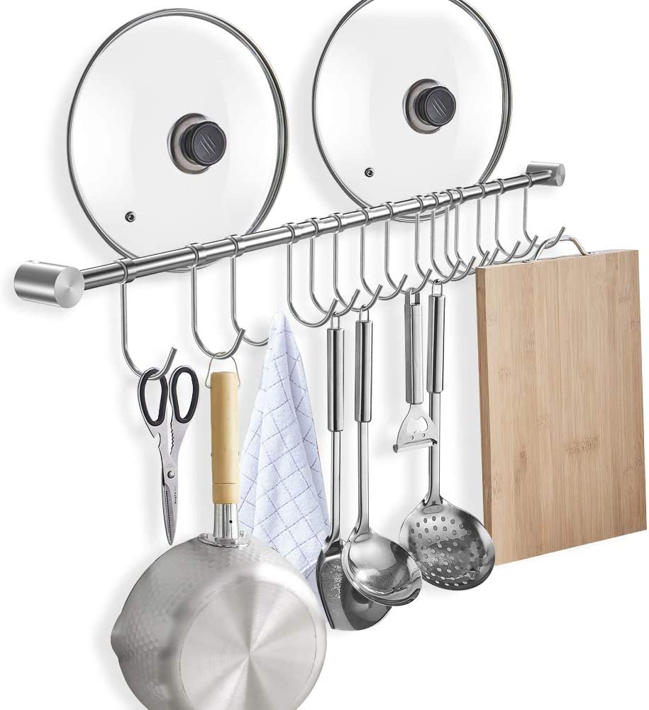 Wall Mounted Max 54% OFF Utensil Rack Stainless w Steel favorite Hanging Rail Kitchen