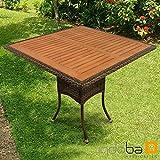indoba IND-70113-TI quadratisch-Polyrattan-braun-Serie Valencia Gartentisch, 85x85x74 cm