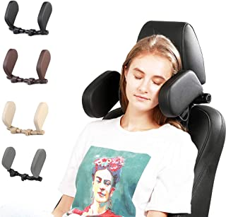 Car Headrest Pillow, Upgraded 3rd Generation Vehicle Travel Head Neck Support U-Shaped Cushion (Black)