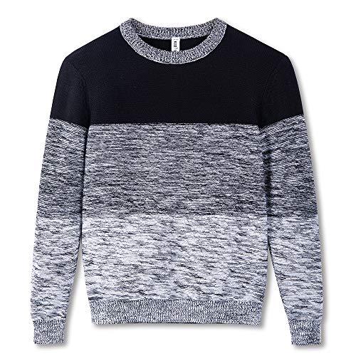 Kid Nation Boy's Crew Neck School Uniform Sweater Casual Color Block Pullover Sweatshirt, Black 8-10Y