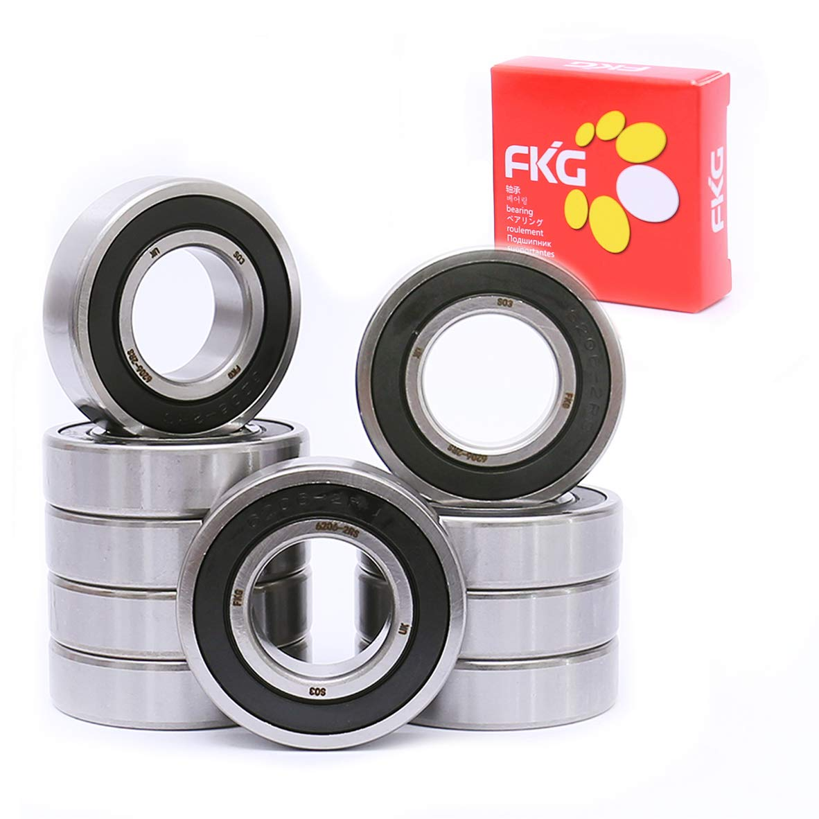FKG 10Pcs 6206-2RS 30x62x16mm Recommended Double Seal Inexpensive Groove Bal Deep Rubber