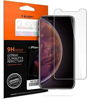 【Spigen】 iPhone XS ガラスフィルム/iPhone X ガラスフィルム 5.8インチ 用 薄さ0.4mm ガラスフィルム 強化ガラス 液晶保護フィルム 高透過率 液晶パネル 保護 3DTouch Face ID 対応 057GL22105 (GLAS.tR SLIM (1枚入))