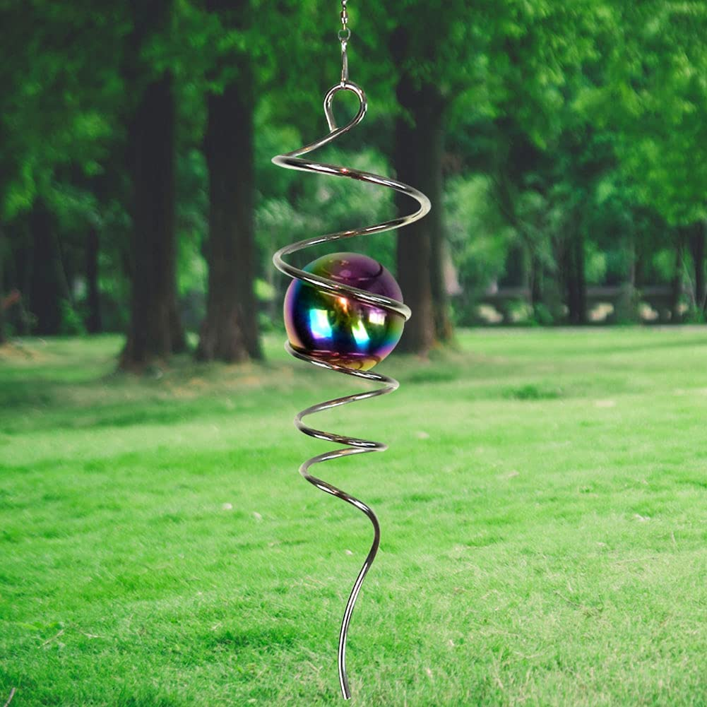 LJLIFART Gazing Ball Spiral Decorative Wind Spinner with Multi Color Steel Ball Unique Gift and Hanging Decor for Indoor Outdoor Garden Decoration 11 inch