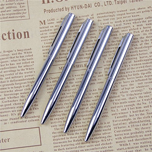 Lanyifang 10pcs Bolígrafo de Metal Bolígrafos de Bola Mini Bolígrafo de Bolsillo Pluma de Aceite Portátil Acero Inoxidable Plateado