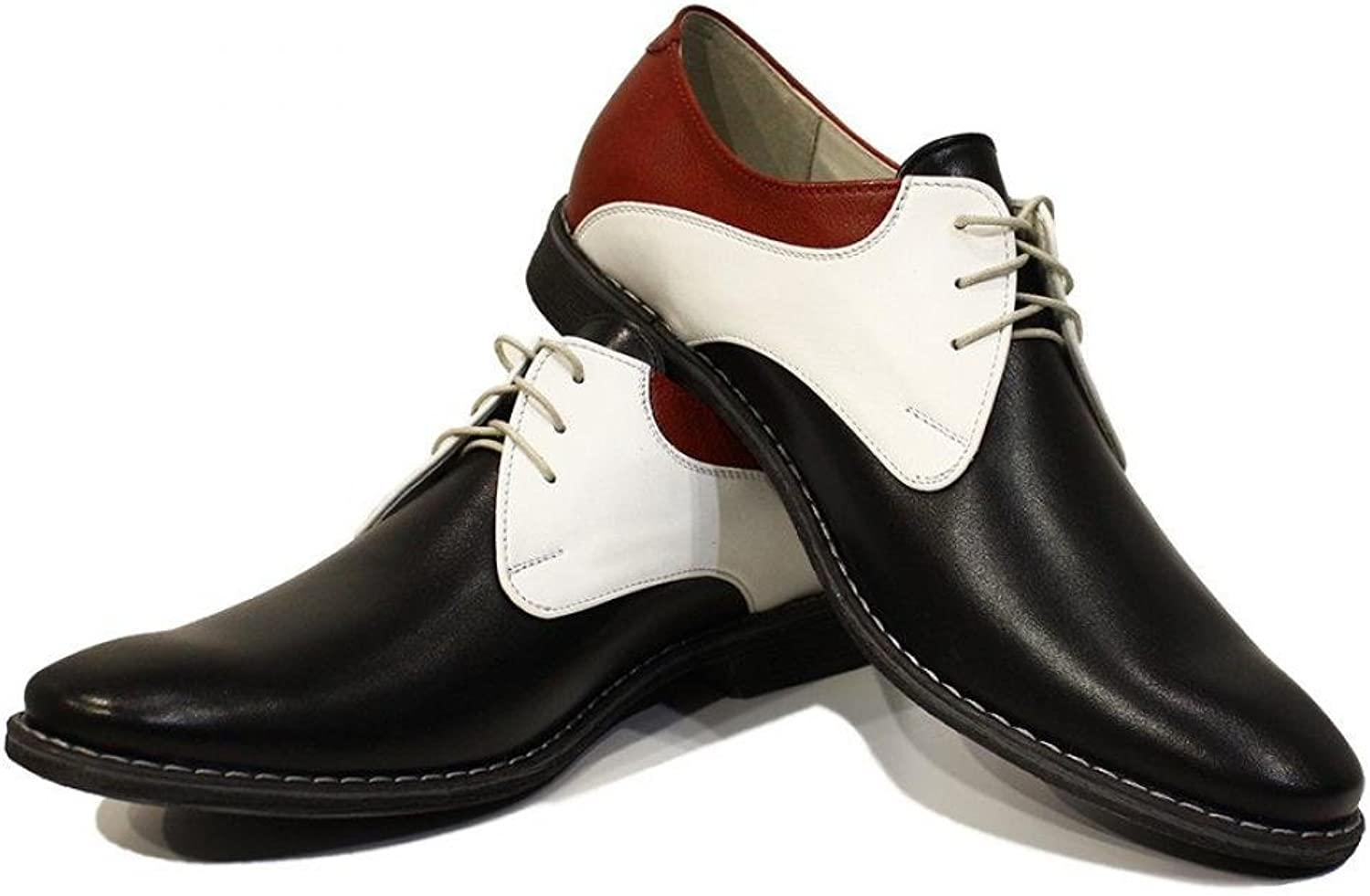 Modello Fabio - Handmade Italian Leather Mens color colorful Oxfords Dress shoes - Cowhide Smooth Leather - Lace-Up