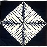 大判 風呂敷 巾110cm 藍染め 絞り 四角柄 和柄 藍色 紺色 多包布 テーブルクロス タペストリー (No-2)
