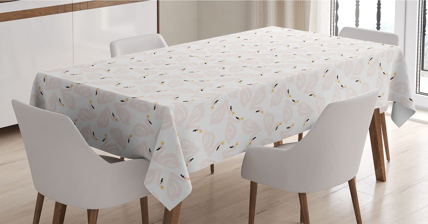 Ambesonne Regular discount Swan Tablecloth Doodle Cartoo Max 81% OFF Style Color Pastel