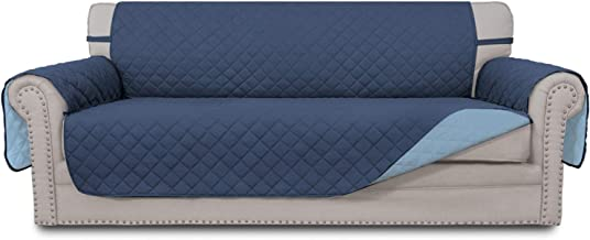 Best Easy-Going Sofa Slipcover Reversible Sofa Cover Water Resistant Couch Cover Furniture Protector with Elastic Straps for PetsKidsChildrenDogCat(Sofa,Dark Blue/Light Blue) Reviews