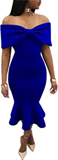 Arctic Cubic Short Sleeve Off The Shoulder Ruched Front Ruffled Ruffle Hem Midi Bodycon Fishtail Mermaid Dress