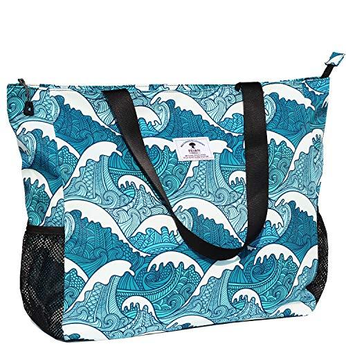 ESVAN Bolsa de Playa Grande Resistente al Agua, Ligera, de 20 Pulgadas, para Mujer, Bolsa Grande para Gimnasio, Playa, Viajes, Piscina, Yoga, Enfermera