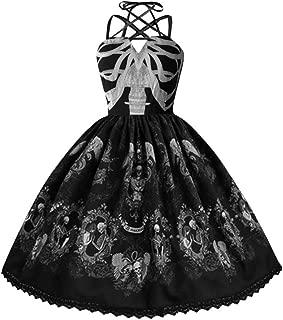 Womens Creative Skull Print Dresses Punk Style Strap Sling Criss Cross Big Swing Hepburn Party Dress