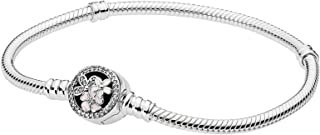 Pandora Women's Moments Sterling Silver Bracelet with Poetic Blooms Clasp - 590744CZ-16
