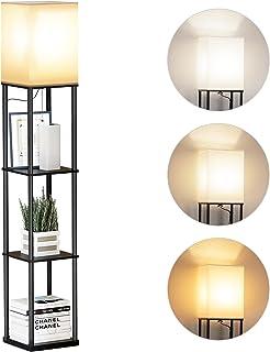 SUNMORY Lampadaire Etagere, 3 Températures de Couleur, Lampe de Salon sur Pied avec Ampoule LED, Lampe sur Pied pour Salo...