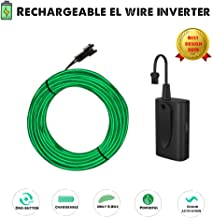 ROITB 2019 New USB Rechargeable El Wire Inverter Controller with 10ft El Wire Green Kit, 5 Modes with Sound Activation for DIY Halloween Party Light Up Purge Mask