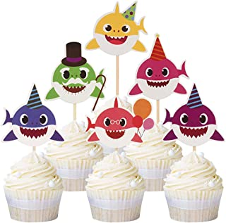 Mumoo Bear 24pcs Cute Baby Shark Cupcake Toppers Picks for Kids Baby Shower Birthday Cake Decoration Party Supplies