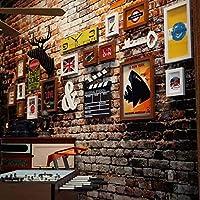 レトロな写真の壁、鹿のヘッドクロックの組み合わせ装飾ギャラリーフォトフレーム、14ギャラリーフォトフレーム6種類のアクセサリー-222x85cm-白+胡