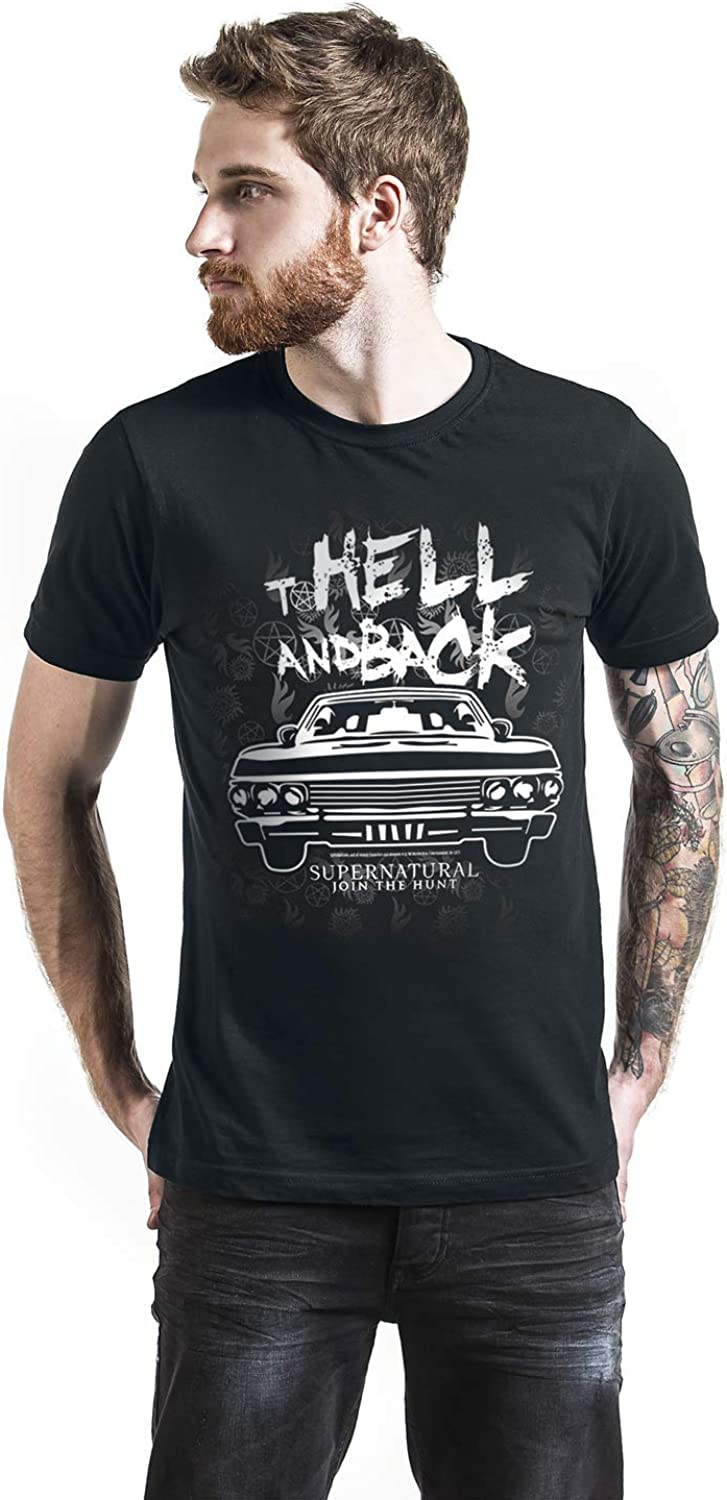 Supernatural To Hell and Back Hombre Camiseta Negro, Regular