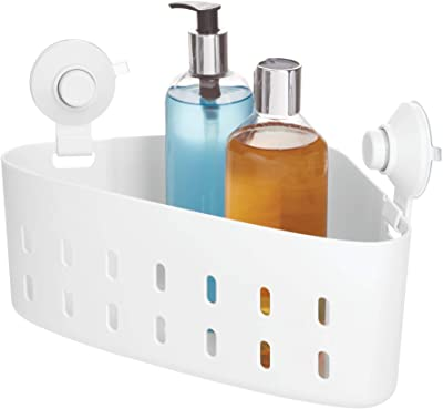 "iDesign Cade BPA-Free Plastic Corner Storage Organizer 2 Push Lock Cups for Bathroom Shower/Tub, 7.52"" x 12"" x 7.32"", Suction Basket"
