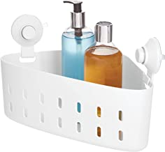 "iDesign Cade BPA-Free Plastic Corner Storage Organizer Basket with 2 Push Lock Suction Cups for Bathroom Shower/Tub, 7.52""..."