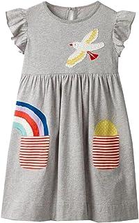 3a9a6d72987 VIKITA Robes Enfant Fille Floral Broderie Coton Princesse Casual 1-8 Ans