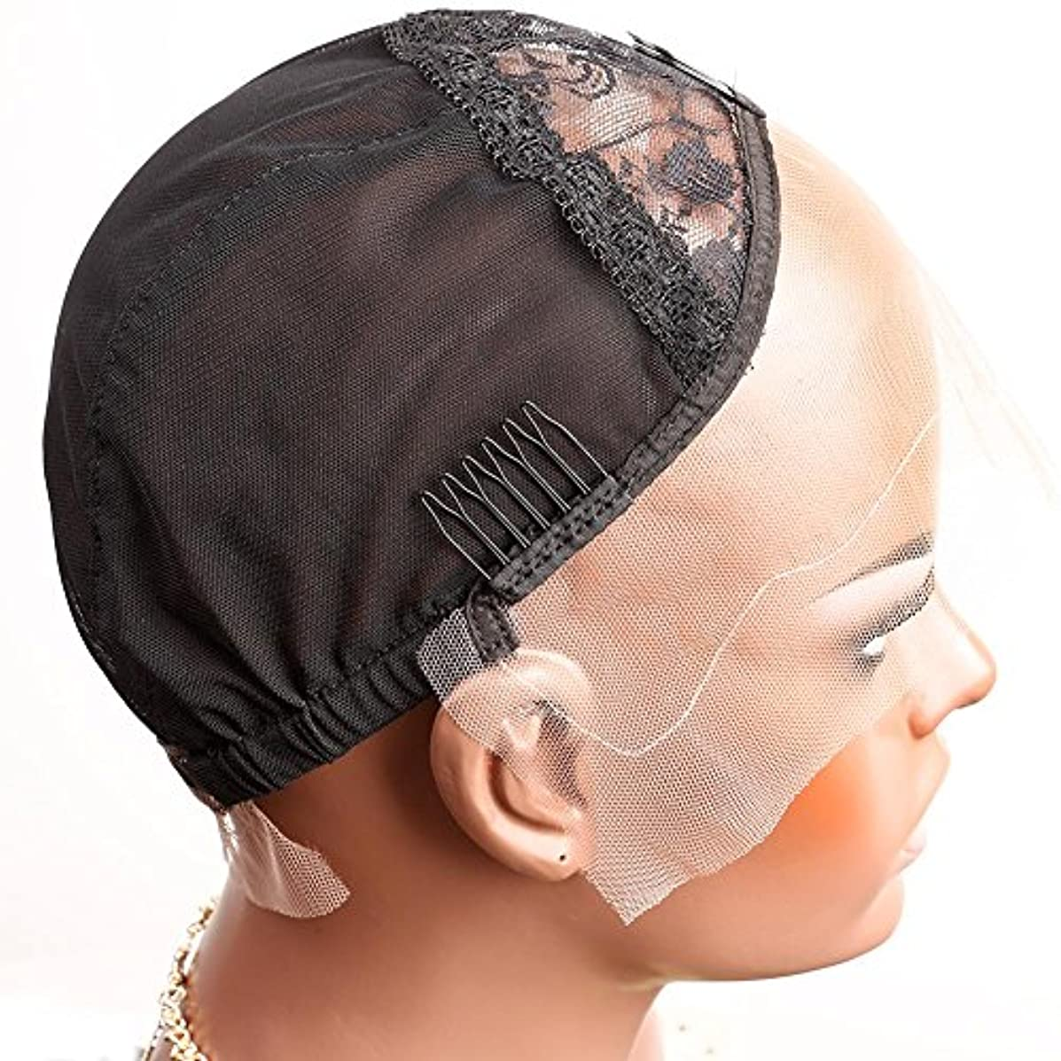 Bella Hair Breathable Lace Front Wig Cap for Making Wigs with Adjustable Straps and Combs Swiss Lace Black Medium Size
