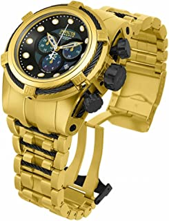 Men's 12737 Bolt Reserve Chronograph Black Dial 18k Gold Ion-Plated Stainless Steel Watch