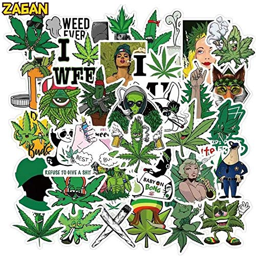 Hemp Leaf Stickers Stickers 10/50Pcs Skateboard Notebook Decals Cartoon Leaves Guitar Luggage Laptop Funny Aesthetic Sticker