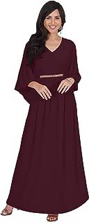 KOH KOH Womens Long Elegant V-Neck Batwing Sleeve Cocktail Kaftan Maxi Dress
